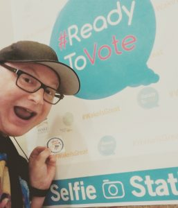 Doug in front of the #ReadyToVote selfie station