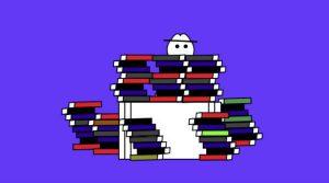 Cartoon of Doug behind books